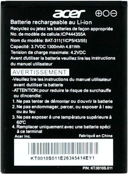 Acer Liquid Z200 Duo Batterij origineel BAT-311
